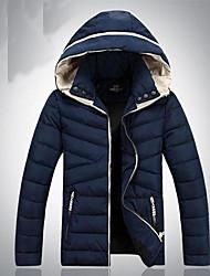 Men's Regular Down Coat , Others Long Sleeve