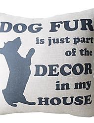 Dog Pattern Cotton/Linen Decorative Pillow Cover