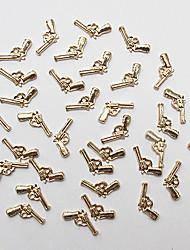 100PCS Fashion 3D Metal Gun-like Golden Nail Art Decoration