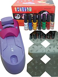 Stamp Stamping Image Template Plate Suits 7 Colors Stamping Oil Nail Art Set(Random Pattern)