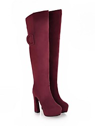 Women's Shoes Fashion Chunky Heel Knee High Boots with Zipper More Colors available