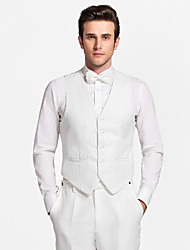 White Polyester Tailored Fit Vest