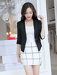Women's White/Black Blazer , Casual ½ Length Sleeve