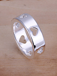 Fashion Round Shape Silver Plating Hollow Foreign Trade Ring Jewelry (Silver)(1Pc)