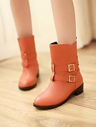 Chaussures Femme - Décontracté - Noir / Orange - Gros Talon - Bout Arrondi - Bottes - Faux Cuir