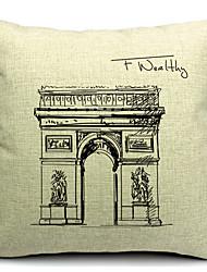 grand coton de l'architecture / lin taie d'oreiller décoratif