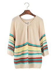 Women's Round Collar National Wind Stripe Knitwear Cardigan
