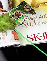Венеция стиле зеленого ПВХ женщин Хэллоуин маска партии с пером цветок