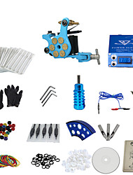 1 Gun Complete No Ink Tattoo Kit with Bullet Blue Tatoo Machine and Aluminium Alloy Power Supply