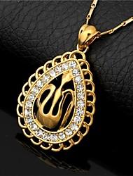 las mujeres / de la venta oro verdadero 18k u7 allah colgante plateado collares del Rhinestone islámicos