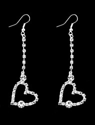Women's Heart-Shaped Classic Silver-Plated With Artificial Rhinestone Earrings (1Pair)