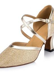 Women's Satin Upper Sparkling Glitter Ballroom Latin Dance Shoes Sandals(More Colors)