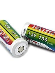 Les batteries Li-ion 3.6v 700mah icr123a rechargeables de haoba