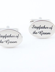 "Groom/Groomsman ""Stepfather Of The Groom"" Brass Cufflinks"