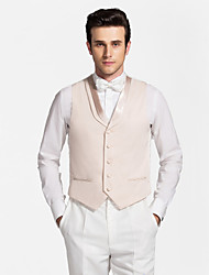 Light Brown&White Polyester Tailored Fit Vest