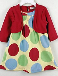 Girl's Dress,Cotton Summer / Spring / Fall Multi-color / Red