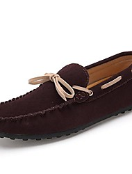 Men's Spring Summer Fall Winter Moccasin Suede Office & Career Casual Bowknot Navy Silver Yellow