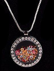 Alloy Round Magnetic Glass Floating Multicolor Rhinestone Living Locket Pendant