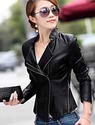 estilo coreano abrigo de cuero de las mujeres de la corto pequeña