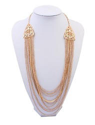 Women's EU&US Exquisite Rhinestone Alloy Chains Tassel Bib Statement Necklace