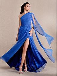 TS Couture Formal Evening / Prom / Military Ball Dress - Royal Blue Plus Sizes / Petite A-line / Princess One Shoulder Sweep/Brush Train Chiffon