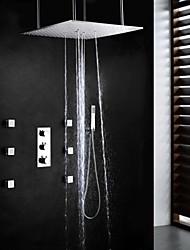 oscilante banheiro termostato e chuvas torneira do chuveiro, dupla cabeça de chuveiro e massagem spa pulverizador escovada funcional de 20 polegadas