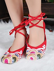 Women's Shoes Old Peking Ankle Strap Flat Heel Canvas Flats Casual Shoes