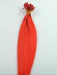 100strands 18inch / pack 100% de puntas de uñas queratina indio extensiones de cabello humano rojos
