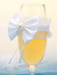Noble Clear Champagne Glass With White Pearl Bow-Set Of 2