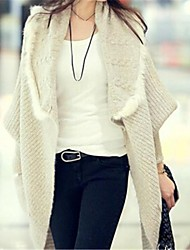 Women's Casual Faux Fur Splicing Turn Down Collar Loose Knitted Coat