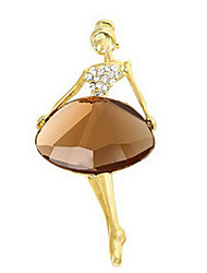 Lucky doll Women's Crystal Ballet Girl Brooch