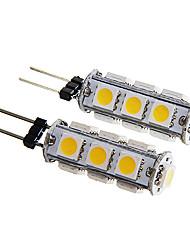 g4 13x5050 SMD 2W 160-180lm 3000-3500K lumière blanche chaude conduit ampoule de maïs (12v x2)