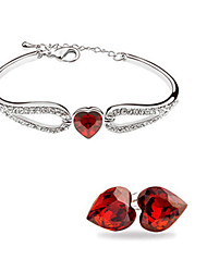 Ysk Convergent Design Heart-Shaped Crystal Bracelet Earrings Suit  Jewelry131
