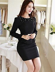 Women's Order Bead Long-sleeved Professional Package Buttocks Dress