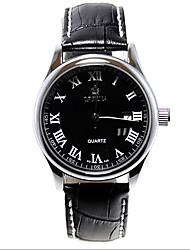 v6 couro marcação data de quartzo relógio de pulso esporte orn0098 preto