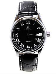 v6 черный циферблат кожа дата кварц спорт наручные часы orn0098