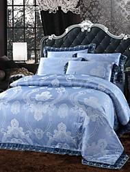 Xinxingmeng® Duvet Cover Sets Luxury 4 Piece Cobalt Blue Novelty Jacquard Full Queen