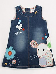 Children's Dress Princess Denim Dress Sleeveless Cotton Flowers Dresses Dresses Random Print