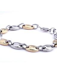 herenmode persoonlijkheid titanium staal geleidelijk goud bonen armbanden