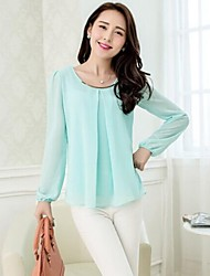 Women's Solid Blue/Pink/White/Black/Green T-shirt/Blouse , Round Neck Long Sleeve