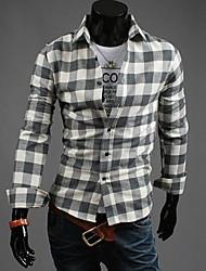 Men's Long Sleeve Shirt , Cotton Blend Work/Formal Plaids & Checks