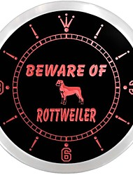 Beware of Rottweiler Dog Pet Neon Sign LED Wall Clock