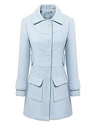 delgado wathet azul abrigo de tweed larga de las mujeres