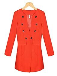 turno doppio petto arancio midi cappotto di trincea delle donne