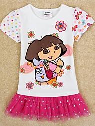 impresión linda princesa de manga corta vestidos de fiesta de helados para niños de impresión al azar