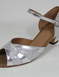 Customizable Women's Dance Shoes Latin Paillette Customized Heel Silver