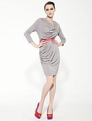 joannekitten® женщин капот шеи асимметричные драпированные Bodycon длинным рукавом платье