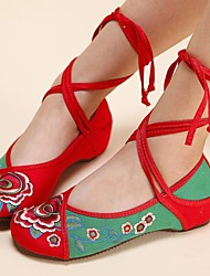 Women's Shoes Old Peking Ankle Strap Flat Heel Canvas with Flower Shoes