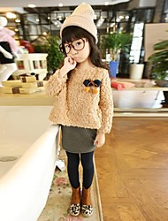 Girl's Beige Dress,Solid Cotton Blend Winter / Fall / Spring