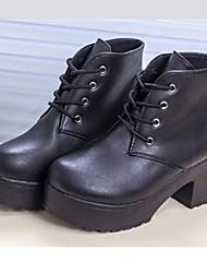 женская обувь круглого Toe коренастый пятки ботильоны